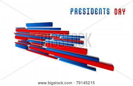 United State American flag color abstract design for Presidents Day celebration on white background.