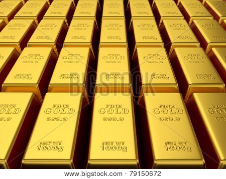 Render Of Gold Bars Background