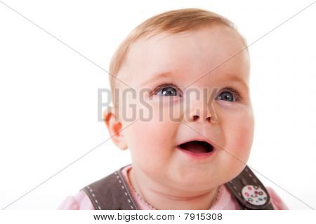 Toddler Looking Up and Laughing - Isolated