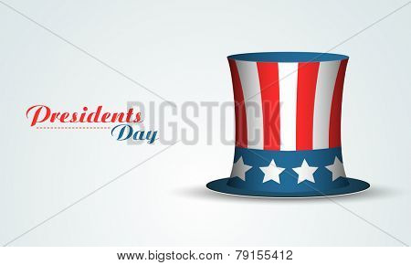 Glossy United State American flag color hat on shiny sky blue background for Presidents Day celebration.
