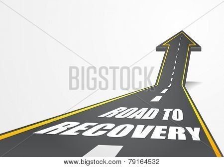 detailed illustration of a highway road going up as an arrow with Road To Recovery text, eps10 vector