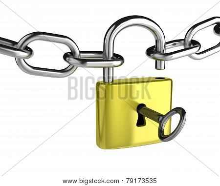 Chain with a Key that is Opening a Padlock on White Background poster