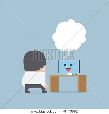 Confused Businessman With The Error Computer