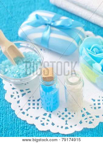 sea salt and soap on the table poster
