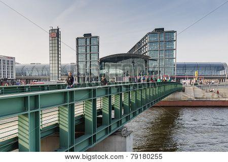 View Of The Berlin Hauptbahnhof Station From Bridge