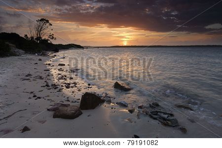 Glorious summer sunset over Botany Bay Sydney Australia poster