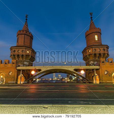 Oberbaum Bridge, Berlin, Germany At Night