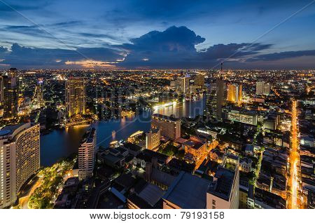 Bangkok cityscape with Chaophraya River at twilight time poster
