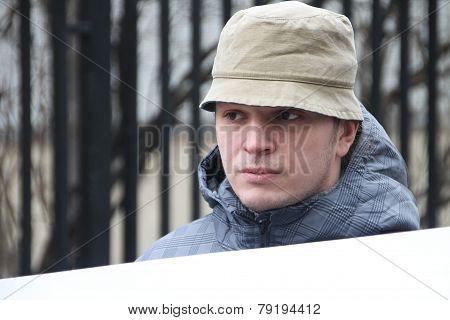 Politician Mikhail Velmakin On Picket Near Prison Where The Arrested Politician Nikolay Lyaskin