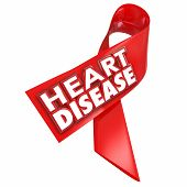 Heart Disease awareness red ribbon with 3d words to illustrate and convey importance of battling the coronary cardiovascular condition or illness poster