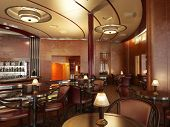 A Classy upscale restaurant interior with bar. poster