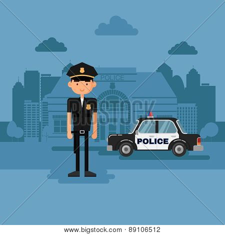Concept policeman at work.