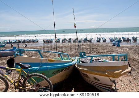 Beautiful seashore view of fishermen boats in Manabi, Ecuador