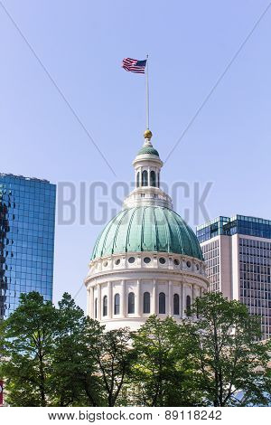 Capitol Building With American Flag On Top In St. Louis poster