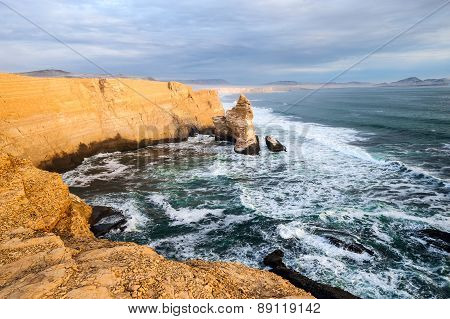 Cathedral Rock Formation Peruvian Coastline Rock formations at the coast Paracas National Reserve Paracas Ica Region Peru poster