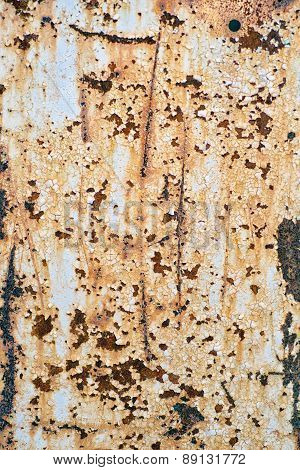 Old Damaged And Weathered Metal Or Steel Painted Surface