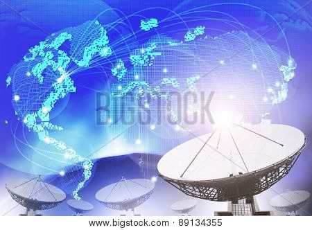Satellite Dish With Blue Theme Of World Connecting Technology Use As Multipurpose Background,backdro