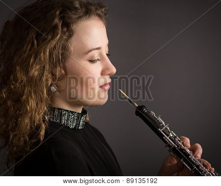 Beautiful Young Female Oboe Player