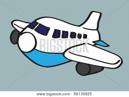 Airplane Vector Cartoon Illustration