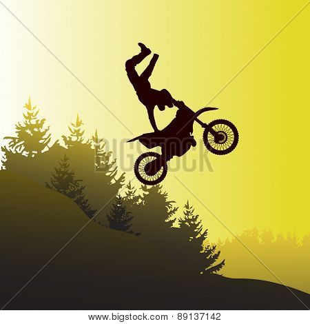 The adventure sport  of Motor Bike show on hill lanscape poster