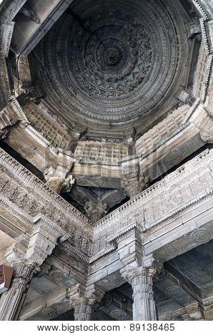 Ahmedabad, India - December 28, 2014: Interior Crafted Designs On Rocks At Jama Mosquea, Ahmedabad