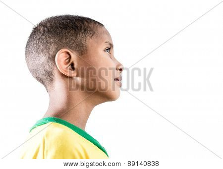 Brazilian little boy isolated on white background