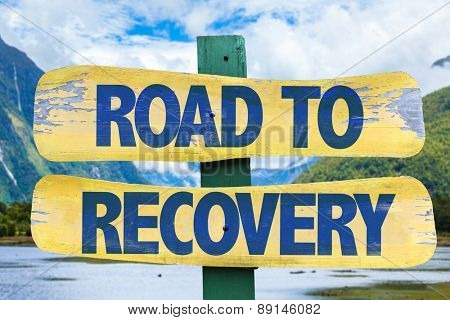 Road to Recovery sign with mountains background poster