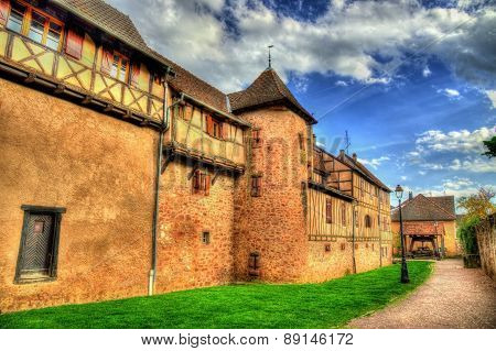 City Walls Of Riquewihr - Alsace, France
