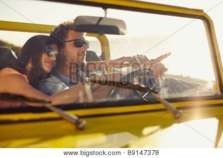 Romantic Couple On Long Drive