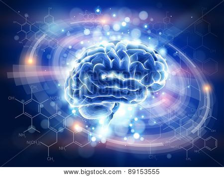 Technology blue concept - Brain, radial HUD interface elements, chemistry forms