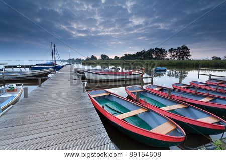 Boats At Harbor In Morning