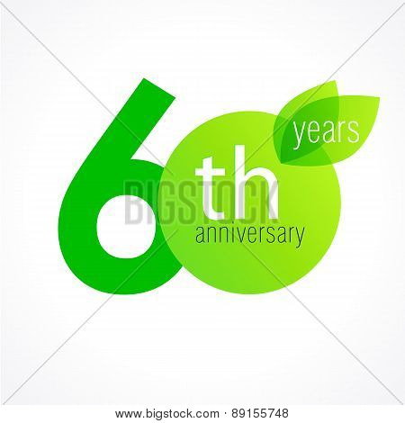 60 years old celebrating green leaves logo. Anniversary year of 60 th vector template. Birthday greetings celebrates. Environmental protection, natural products jubilee ages. Letter O with leaf.