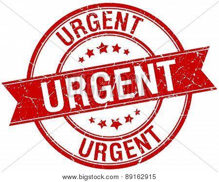Urgent Grunge Retro Red Isolated Ribbon Stamp