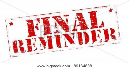 poster of Rubber stamp with text final reminder inside vector illustration
