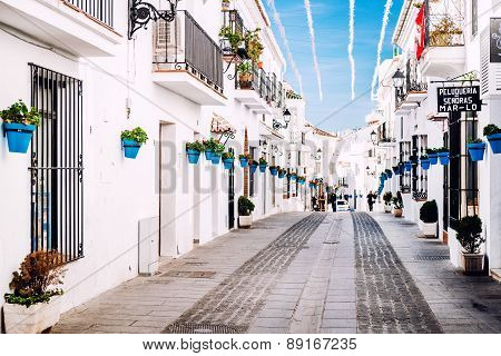 Mijas, Spain- January 05, 2014: Charming Whitewashed Street In Mijas. Mijas Is A Lovely Andalusian W