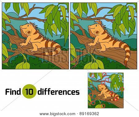 Game for children: Find differences (iguana and tree) poster