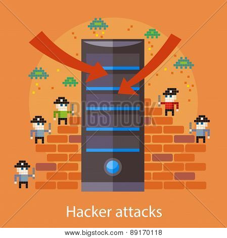 Hackers attaks activity. Computer hacking, internet security concept in flat design. Pirates attacking server in pixel style. For web banners, marketing promotional materials, presentation templates poster