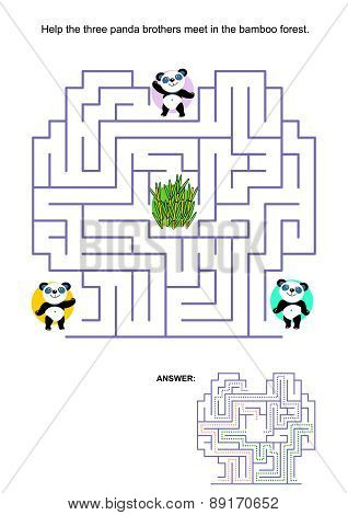 Maze game for kids - panda bears