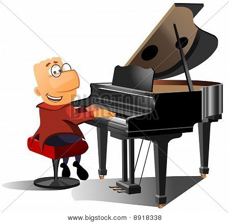 happy man playing the piano