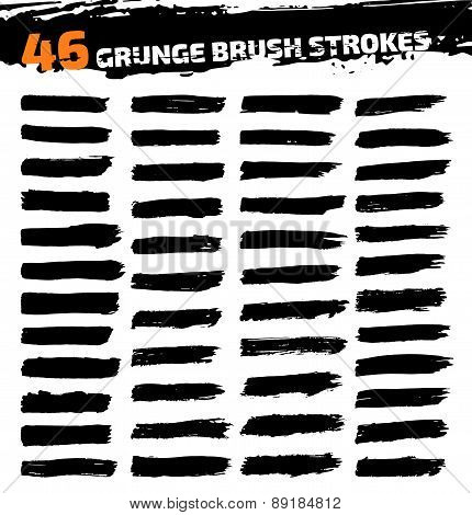 Set of black different grunge brush strokes