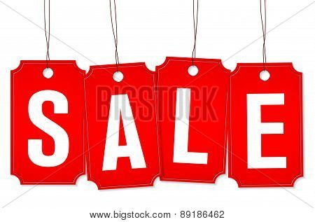 Set Of Four Price Tags With Sale Text
