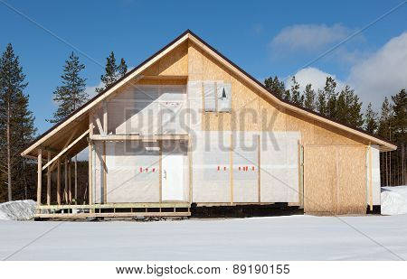 Construction Cottage In The Forest Area