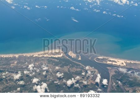 Aerial view of Sergipe and Bahia border in Brazil over the Real river and the Pontal to Mangue Seco cross. You see also Jacare river, Porto do Mato, Atalaia, Mangue seco and janda���ra.