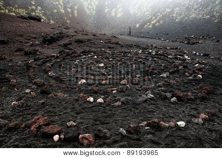Sacred Spiral Of Igneous Rock In Etna Volcano Crater