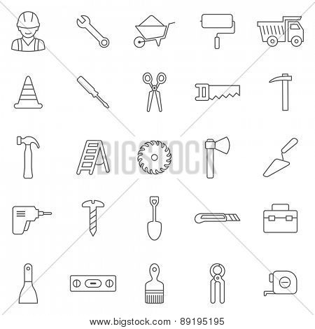 Worker tool line icons set.Vector