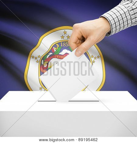 Voting Concept - Ballot Box With National Flag On Background - Minnesota