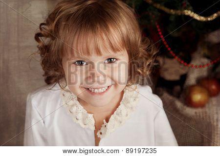 Little Girl In Nightie In The New Year's Eve