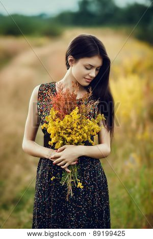 Brunette With Flowers