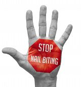 Stop Nail Biting Sign Painted - Open Hand Raised, Isolated on White Background. poster