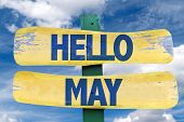 Hello May sign with sky background poster